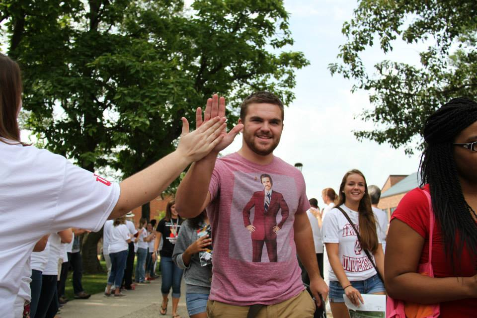 Students of the Class of 2018 are welcomed to campus.