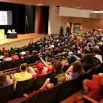 On-campus residents gather for an all-housing meeting.