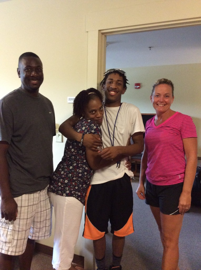 Families prepare to drop-off new students on move-in day.