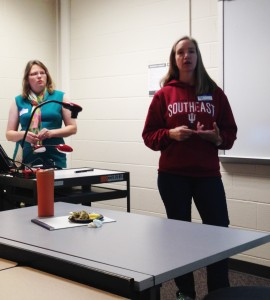 """Left, Dr. Beth Rueschhoff and right, Dr. Pam Connerly  presented """"Assimilating Presentations into the Undergraduate Research Experience"""""""