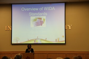 Dean Murray welcomes local educators to the Southeast Indiana WIDA Conference.