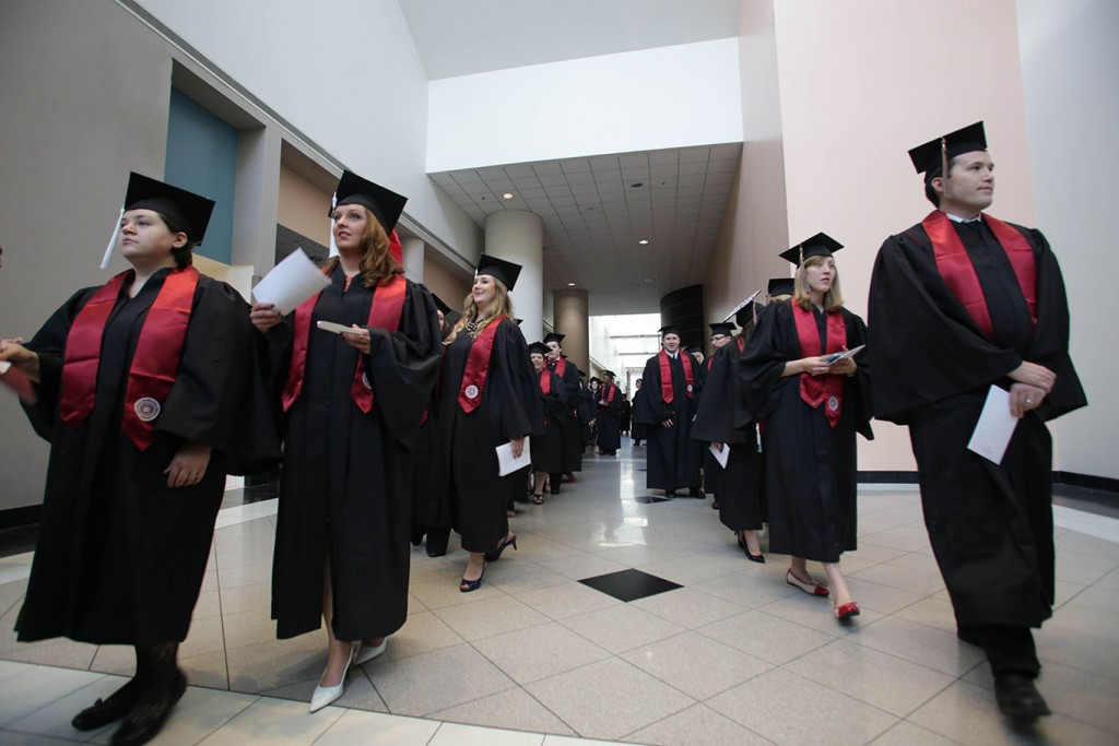 IU Southeast graduates at the 2015 Commencement ceremony at the Kentucky International Convention Center in Louisville, Ky.