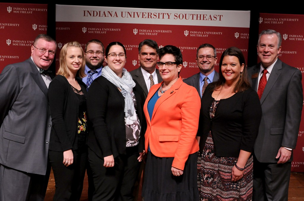 Seven members of the IU Southeast faculty and staff were awarded for their contributions to the university. (L to R) Chancellor Ray Wallace,