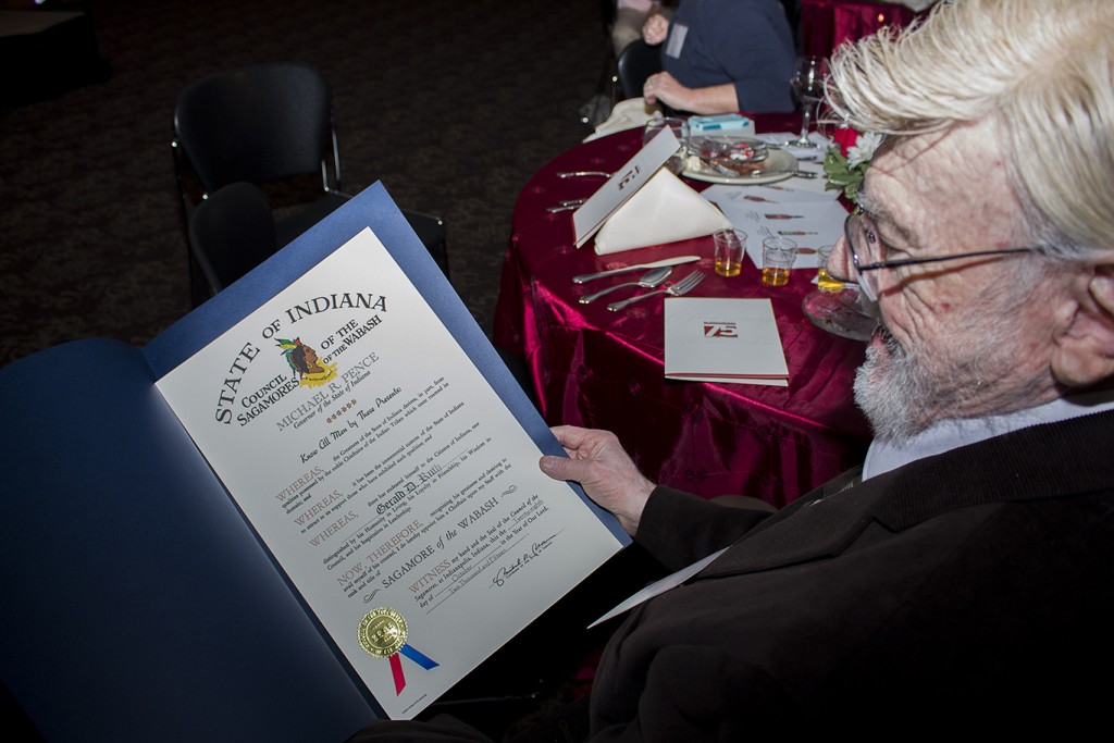 Dr. Gerald Ruth holds his Sagamore of the Wabash certificate, the highest honor awarded by the governor of Indiana.