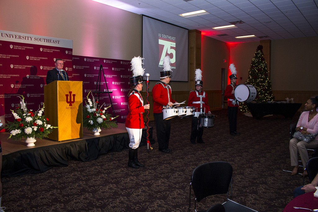Chancellor Ray Wallace introduces the IU Southeast band during the 75th Anniversary and Campaign Kick Off celebration.