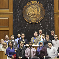 Political science students visit Indiana Statehouse as guest of alumnus Rep. Ed Clere
