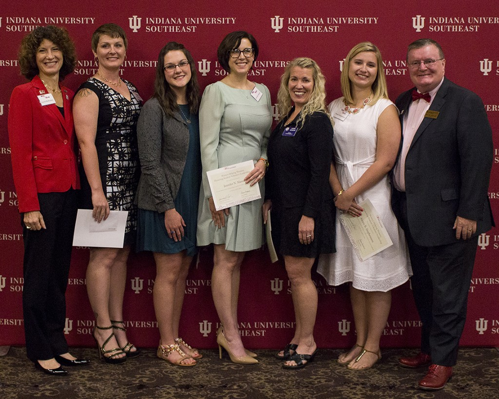From left, Indiana University first lady Laurie Burns McRobbie, Sarah Johnson, Lindsey Lloyd, Jennifer Mason, Laura Schook, Alexis Stephenson and Chancellor Ray Wallace at the Women Helping Women luncheon.