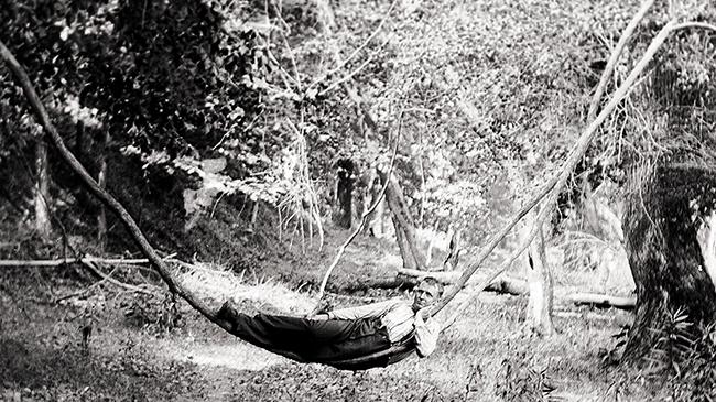 man resting in the forest