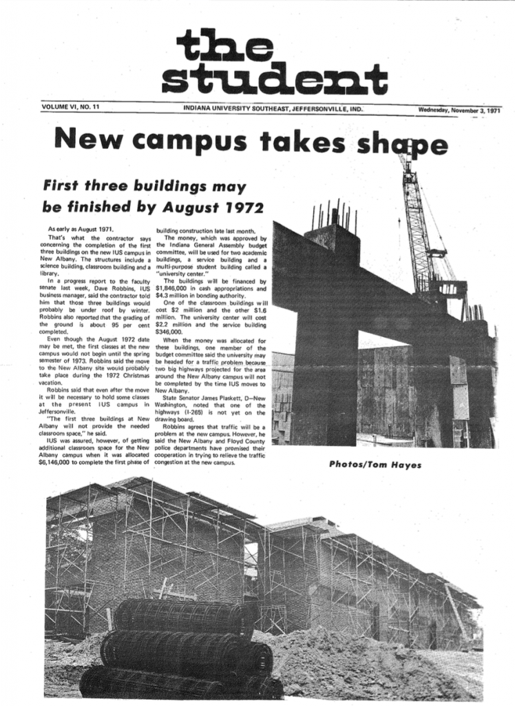 "A 1971 issue of the IU Southeast student newspaper, then called ""The Student."""