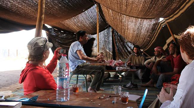 Laura Duncan in bedouin tent
