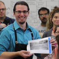 Ross Mazzupappa demonstrates printmaking
