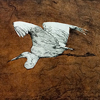 """""""Against All Odds"""" by Deborah Maris Lader, a print of a flying crane"""