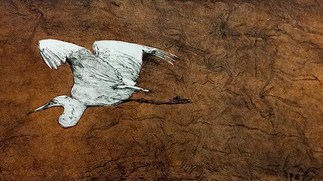 Print of flying crane by Deborah Maris Lader
