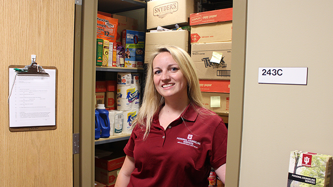 Karen Richie, counselor and manager of the food pantry