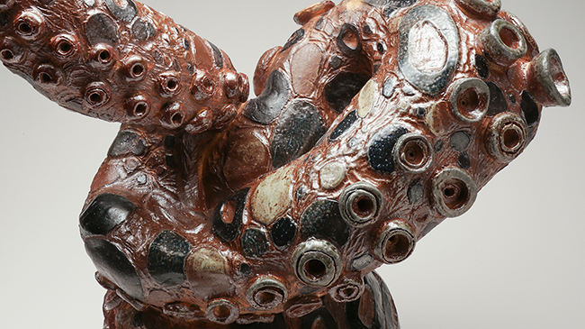 """""""Blue Ringed Octopus"""" (detail), a ceramic sculpture by Leia Roberts."""