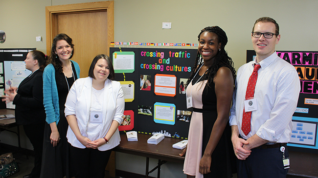 Nursing students Christine Bloom, Katherine Peters, Dana Baine, Zachary Slayton did a poster on helping refugees navigate traffic.