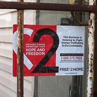 Signage against human trafficking