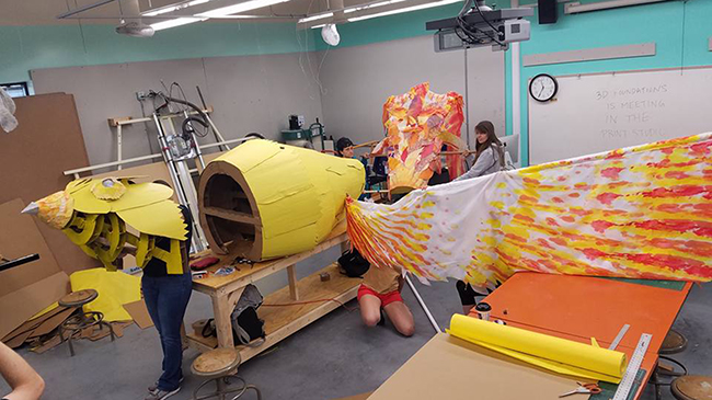 Arts students work on Phoenix.