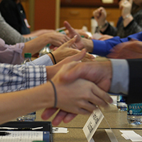 Handshake between employer and student