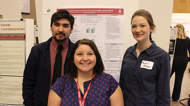 Marcus Dudas, Chelsey Blair and Abigail Dester present their poster at the IU Undergraduate Research Conference.