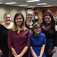 2018 Voices of Change speech contest finalists (l-r): Emily Bealer, Belen Gregory, Emily Cain, Rena Andrews, Megan Johnson. (Not pictured: Hunter Holloway.)