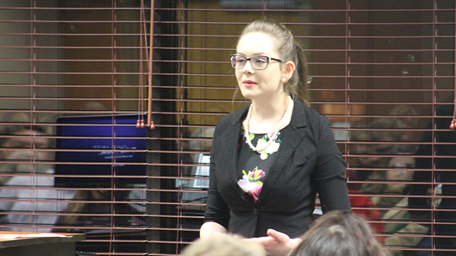 Emily Cain won the Voices of Change speech contest with a compelling presentation on child abuse.