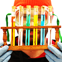 Shawn Green, student, gazes through test tubes filled with different colored liquids.
