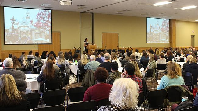 Jessa Dillow Crisp addresses big crowd in Hoosier Room.