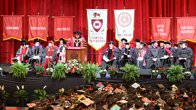IU President Michael A. McRobbie addresses the graduating class of 2018.