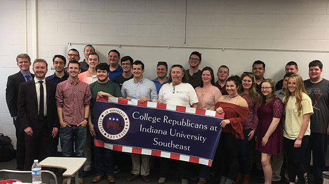 Roger Howard with members of the IU Southeast College Republicans.