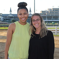 IU Southeast education graduate students Eriauna Stratton and Kelli Kaiser at Churchill Downs.