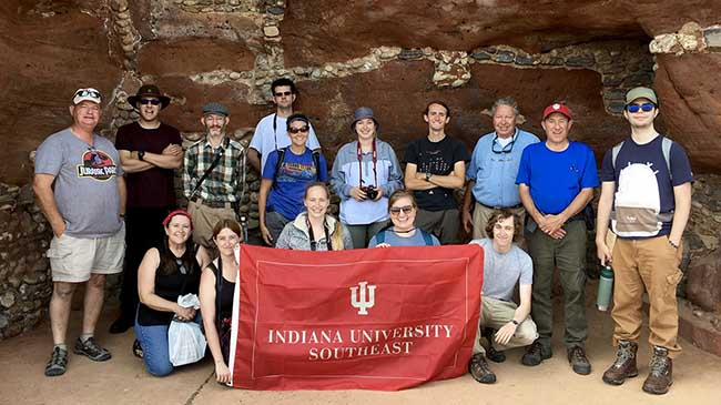 The IU Southeast geosciences group at the sandstone cliffs of Sidmouth.