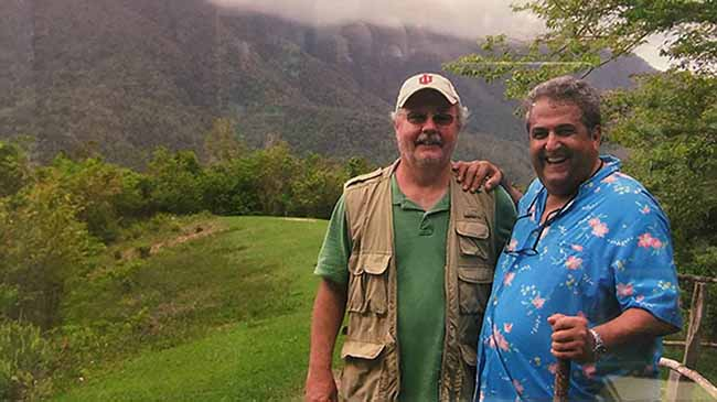 Bernie Carducci (r) with Cliff Staten at Fidel Castro's hideout in the mountains of central Cuba in 2011. Photo courtesy of Cliff Staten