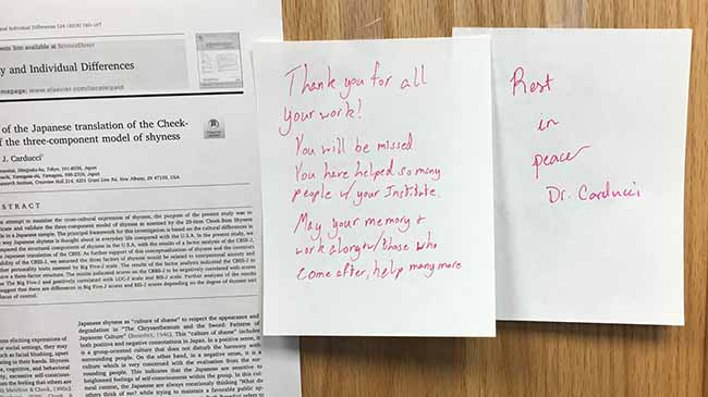 Notes posted to the door of the Shyness Institute express students' lasting affection and gratitude.
