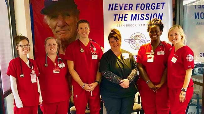 The IU Southeast nursing team takes a break from triage in Charleston, W.Va. (l-r): Stormi Zeis, Emily Ziegler, Brett Kerlin, Dr. Julia Mattingly, Jessica Harris and Shelby Kirchgessner.