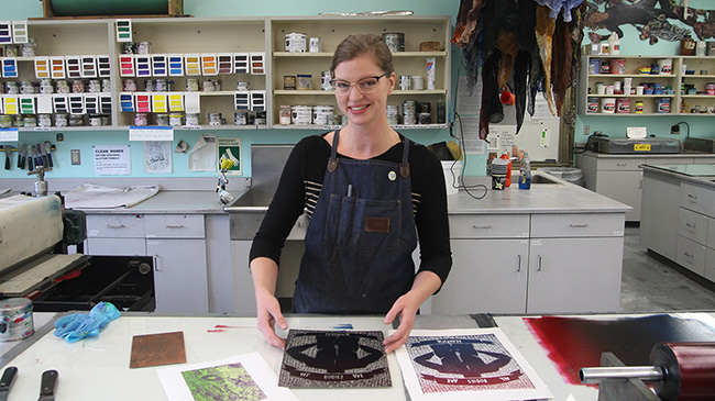 Susanna Crum, assistant professor of fine arts in printmaking, in the printmaking studio at IU Southeast.