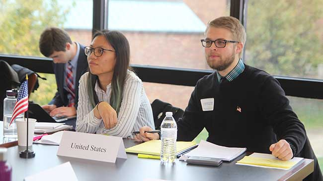Kuan-Chich Wu and Jonathan Cropper represented the U.S. at the Model United Nations held on the IU Southeast campus.
