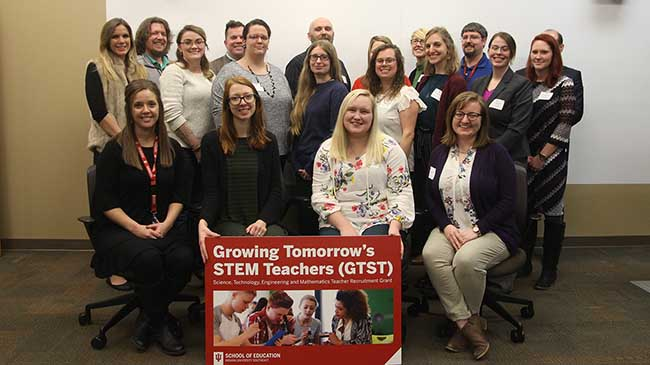 Candidates in the Growing Tomorrow's STEM Teachers program assembled at the Graduate Center for a reception and orientation.