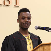 Graduating senior Mark Jallayu addresses the Multicultural Graduation Celebration.