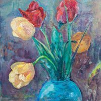Tulips in Blue Vase, oil painting, 1928 by Hundley Love Wells Coolman.