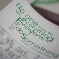 """No one has to do everything. Everyone has to do something"" quote on booklet."
