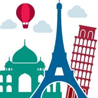 Logo with Eiffel Tower and Taj Mahal
