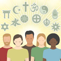 Graphic showing many religious symbols and people of diverse ethnicities.